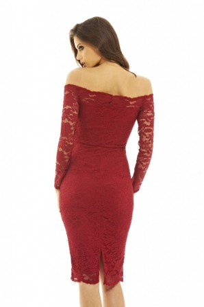 Women's Off The Shoulder Lace Midi  Wine Dress