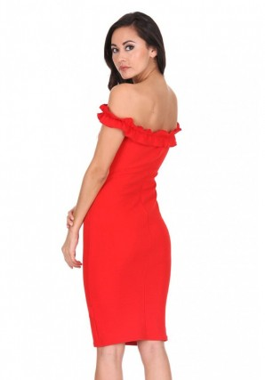 Women's Red Ruffle Bardot Midi Dress