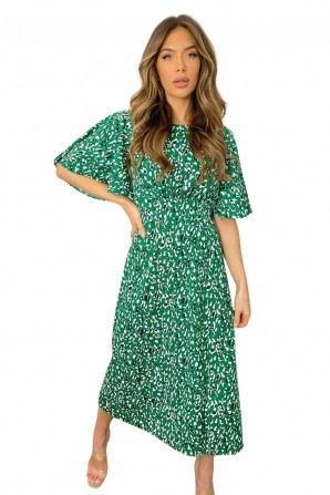 Women's Green Abstract Printed Midi Dress