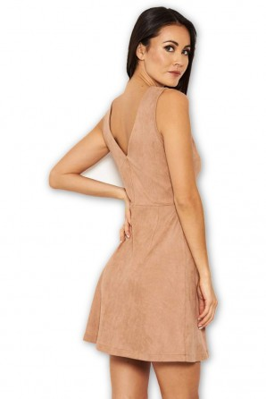 Women's Mink Suede Button Front Dress