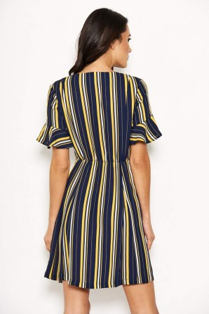 Women's Navy Striped Print Button Up Midi Dress