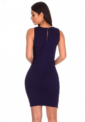 Women's Navy Crochet Embroidered Midi Dress