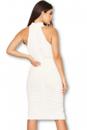 Women's Cream High Neck Ruched Dress