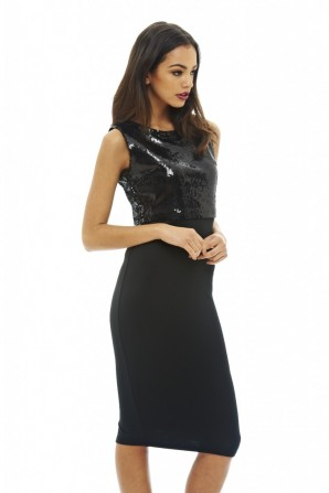 Women's Sequin Over Lay Bodycon  Black Dress