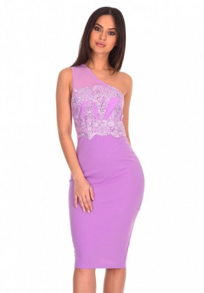 Women's Lilac One Shoulder Sequin Embroidered Bodycon