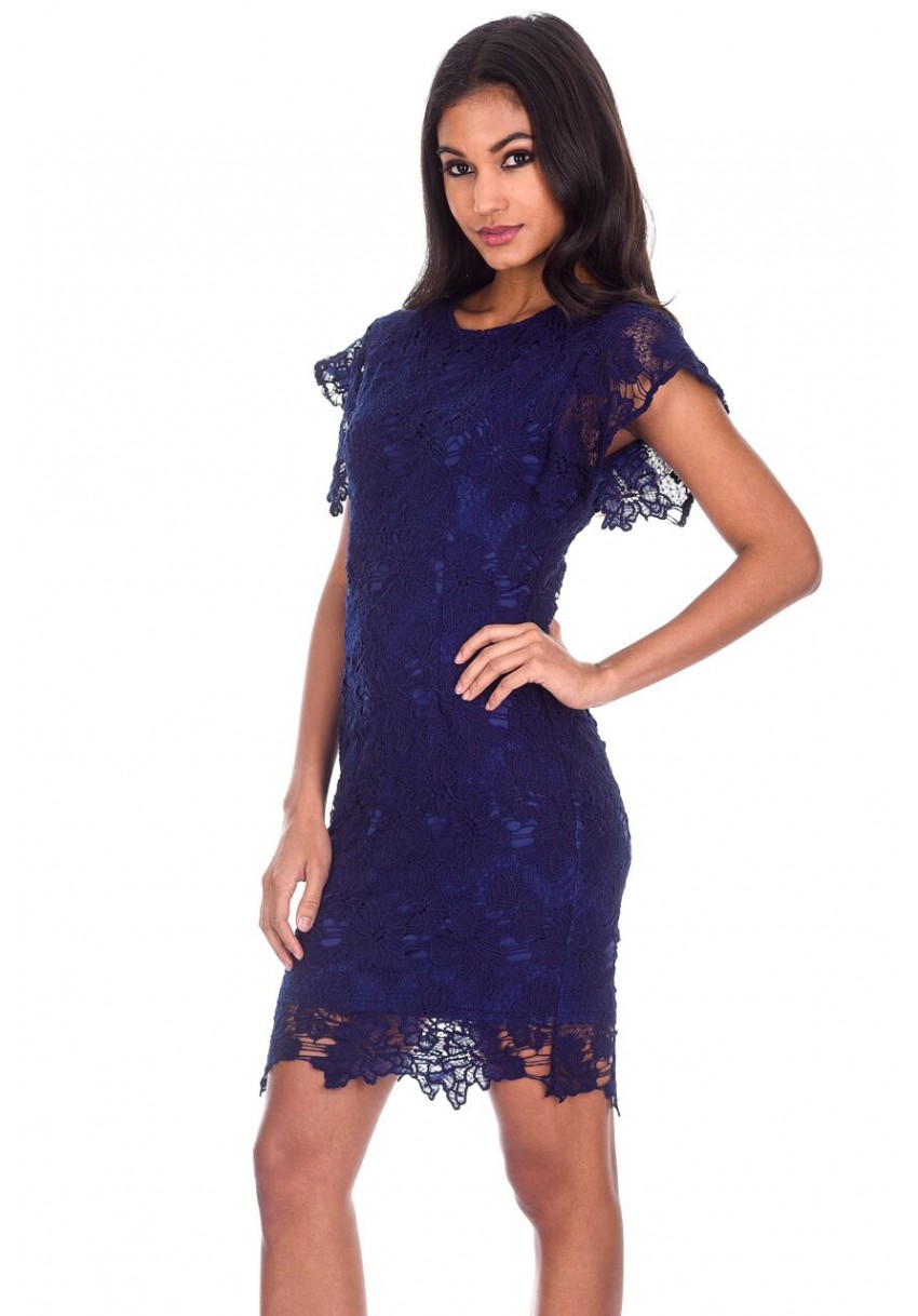 Women s Navy Crochet Detail Midi Dress - AX Paris USA-Fashion ... fbca49a44