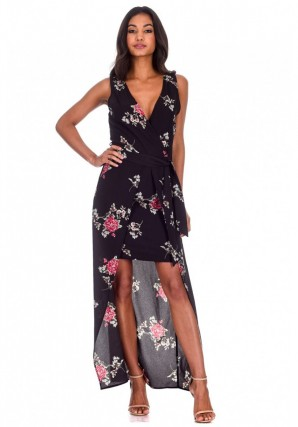 Women's Black Floral V-Neck Wrap Skirt Dress