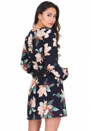 Women's Navy Floral Sleeved Crochet Detail Dress