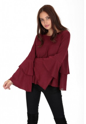 Women's Wine Frill Long Sleeve Sweater
