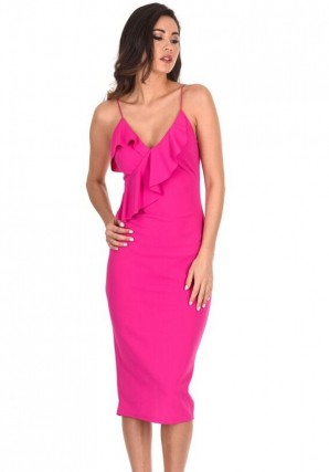 Women's Cerise Frill Front Bodycon Dress