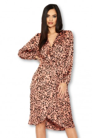 Women's Pink Leopard Print V-Neck Wrap Dress