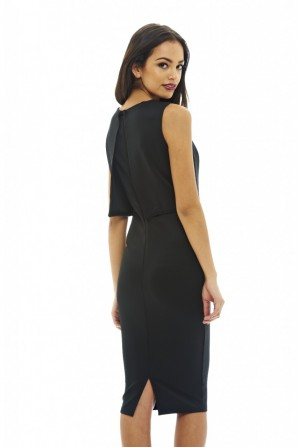 Women's Cropped Overlay With Embellished Edging Black Dress