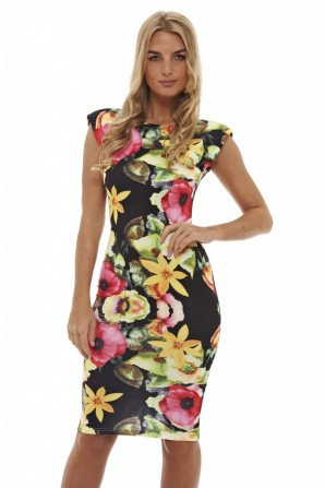 Women's Bright Floral Black Midi Dress