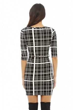 Women's Check Print Tie Belt Black Dress