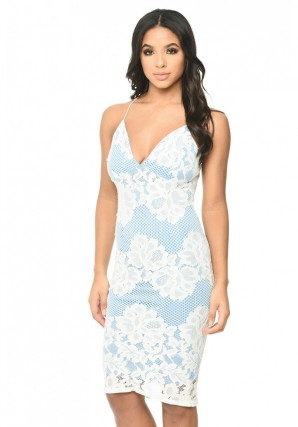 Women's Contrast Blue Lace Bodycon Dress With Plunge Front