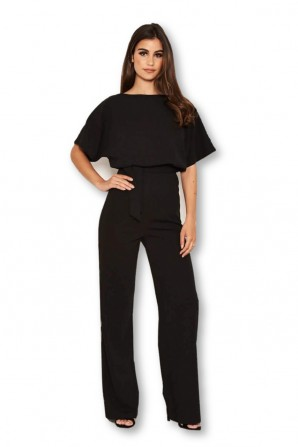 Women's Black Tie Waist Jumpsuit