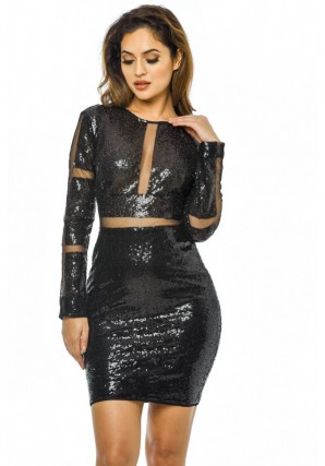 Women's Black Long Sleeve Sequin Dress