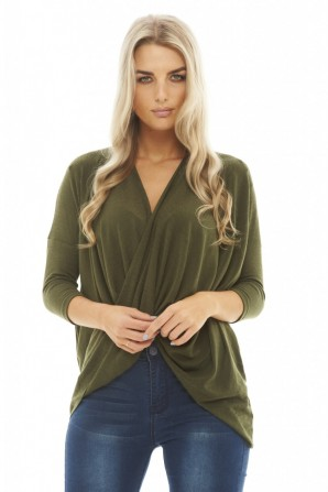 Women's Knitted Wrap Front  Khaki Top