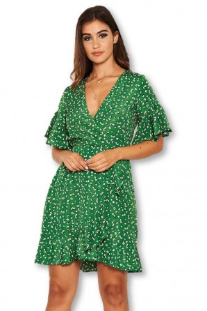 Women's Green Patterned Wrap Frill Mini Dress