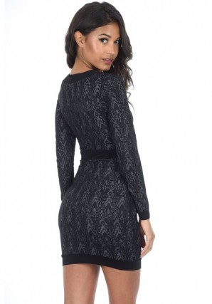 Women's Black Printed Bodycon V-neck Dress
