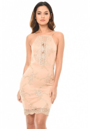 Women's Pink Dress With Gold Embroidery