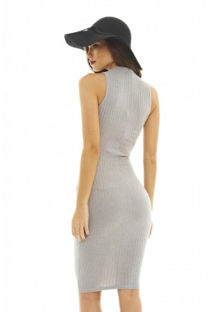 Women's Ribbed Knitted Silver Dress