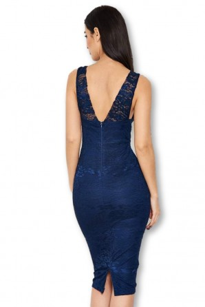 Women's Navy Lace Detail Midi Dress