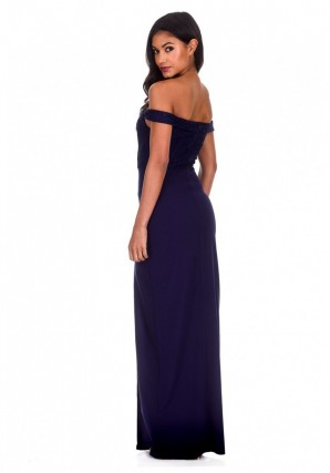 Women's Navy Notch Front Off The Shoulder Maxi dress