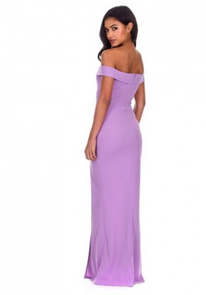 Women's Lilac Off The Shoulder Maxi Dress