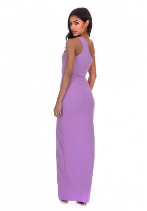 Women's Lilac Asymmetric Thigh Split Maxi Dress