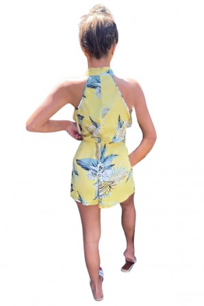 Women's Yellow Frill Floral Printed Romper