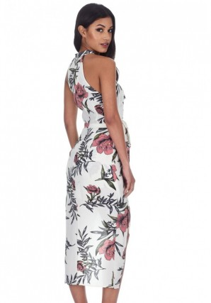 Women's Cream Floral Wrap Over Skirt Dress