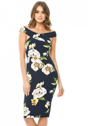 Women's Printed Floral Off Shoulder Cross Midi  Navy Dress
