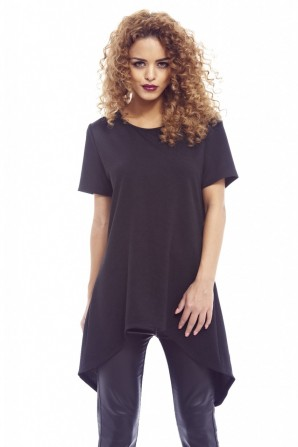 Women's Plain Split Back Black Top