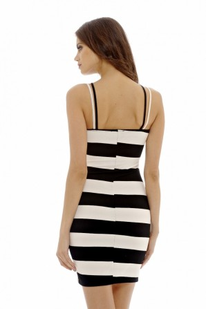 Women's Striped Textured Mini  Black Cream Dress