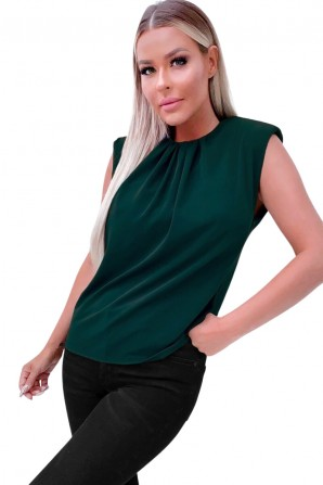 Women's Teal Shoulder Padded Sleeveless Blouse