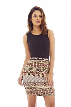Women's Aztec Printed 2 In 1  Black Dress