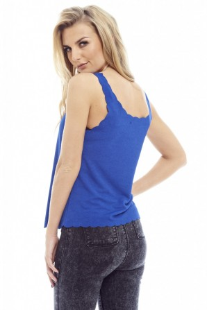 Women's Plain Scallop Edge Blue Top