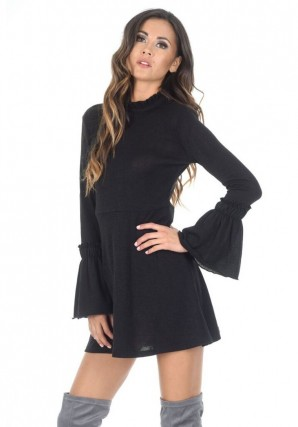 Women's Black Bell Sleeve Frill Dress