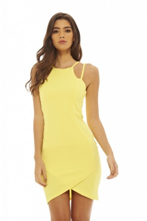 Women's Double Strap Bodycon  Yellow Dress