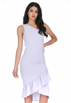 Women's Silver Asymmetric Side Ruched Dress