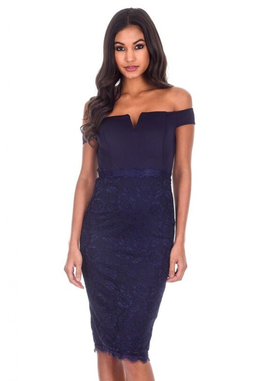 a79ccc4923cd Women's Navy Notch Front Lace Detail Midi Dress - AX Paris USA ...