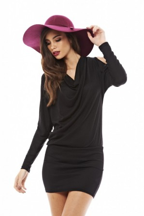 Women's Drape Open Split Arm Sweater Black Dress
