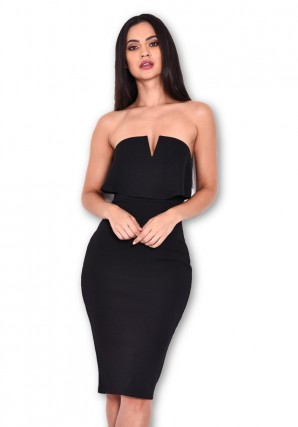 Women's Black Notch Front Bodycon Dress