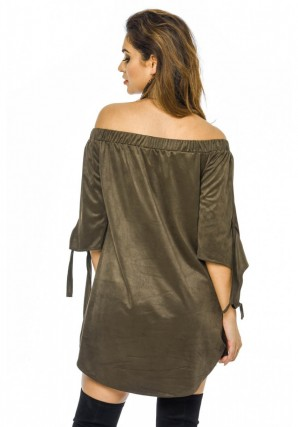 Women's Suede Off The Shoulder Shift  Khaki Dress