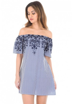Women's Blue Pinstripe Bardot Dress With Floral Embroidery