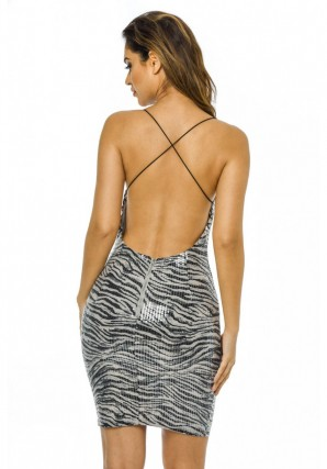 Women's Sequin Strappy  Black White Dress