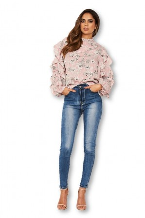 Women's Pink Floral Frilled Sleeve High Neck Top