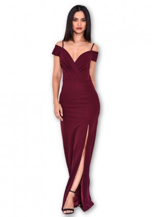 Women's Plum Wrap Over Maxi Dress