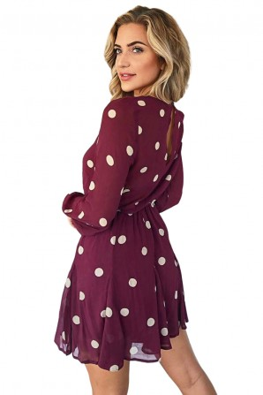 Women's Wine Spotty Pleated Skirt Dress